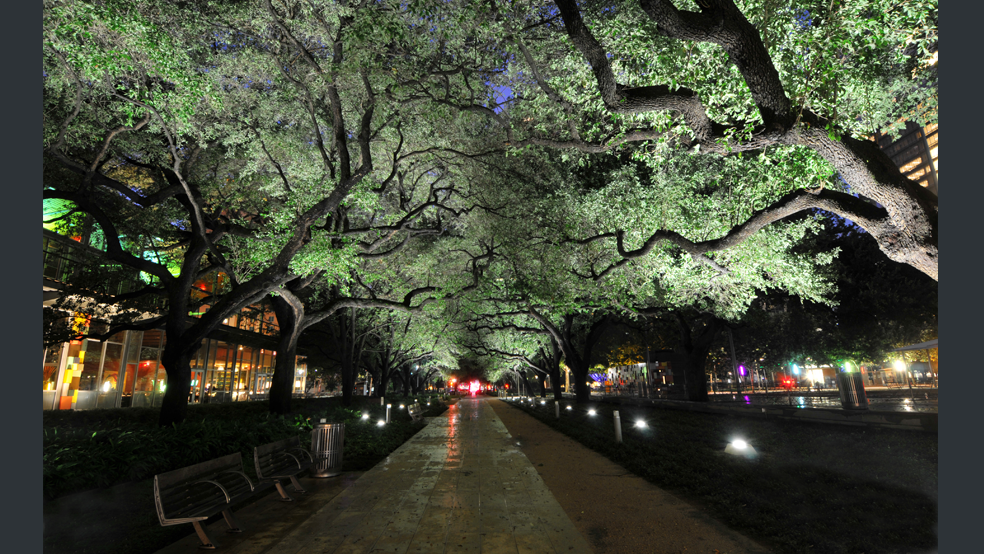 View Down The Recently Illuminated Brown Promenade At Houston S Discovery Green