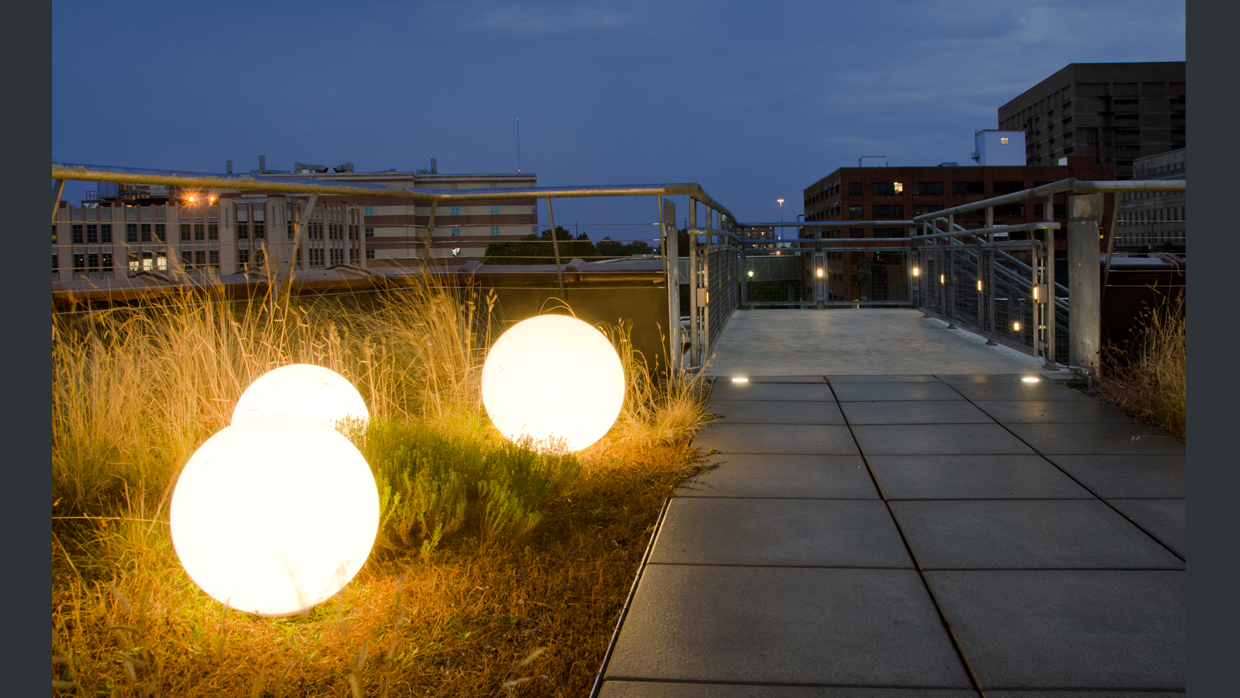 rooftop lighting. glowing orbs scattered among the native grasses give rooftop a warm glow for evening ambiance led marker lights and step allow safe egress lighting