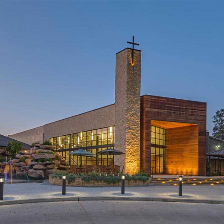G2ld gandy squared lighting design for Church exterior design